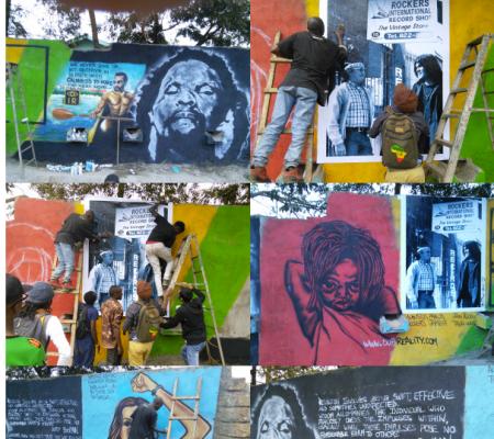 Making IR mural in Korogocho Nairobi Kenya